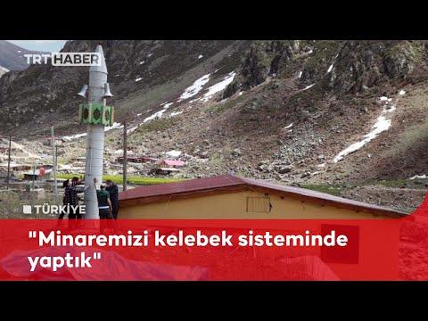 Çığdan korumak için kışın yatırılıp yazın kaldırılan minare yaptılar