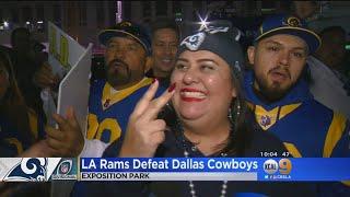 LA Fans Celebrate Rams Win Outside The Coliseum