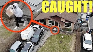 drone catches package thief in the act! (confronting my package thief) (omfg)