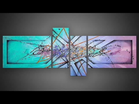 Abstract Painting demonstration in Acrylics with masking tape | Mox