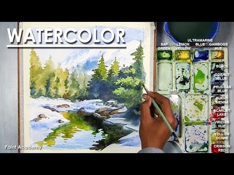 Watercolor Mountain Landscape | How to Paint Icy mountains, trees, lake