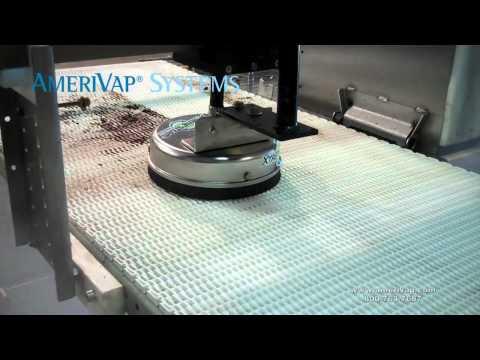 AmeriVap Houdini Jet Spinner Cleaning Mesh Conveyor Belt Using Dry Steam Vapor