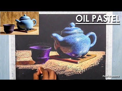 Realistic Still Life in Oil Pastel Cup & Tea pot | step by step technique, Artist-Composer: Supriyo