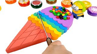 Learn Colors Kinetic Sand Rainbow Ice Cream Cake M&M Chocolate balls How To Make For Kids,  Minions
