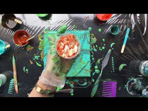( 561 ) PVA acrylic pour with more turquoise