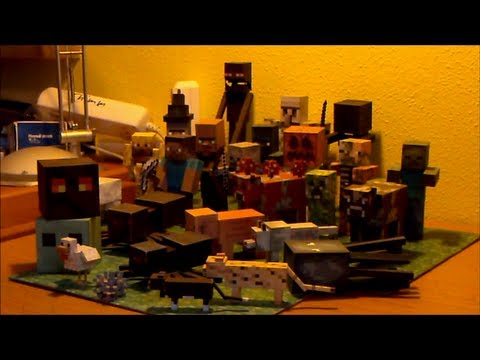 minecraft papercraft collection with all mobs from