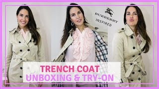 TRENCH COAT UNBOXING & TRY-ON // BURBERRY INSPIRED 2018