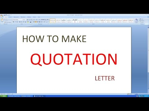 MICROSOFT EXCEL HOW TO MAKE  QUOTATION LETTER