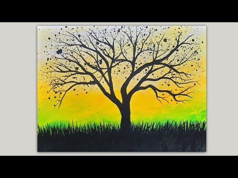 Splattered Tree Silhouette Acrylic Painting Demonstration  Easy Painting