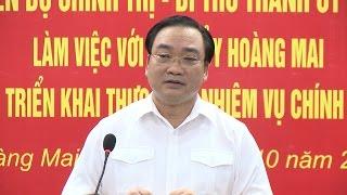 Bí thư Thành ủy Hà Nội Hoàng Trung Hải làm việc tại quận Hoàng Mai