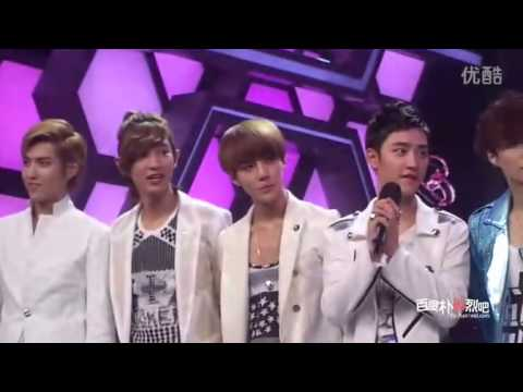 [Fancam] EXO - First 8 Members Introduction at 120703 Happy Camp recording