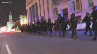 LMPD officers move towards Broenna Taylor protests in downtown Louisville