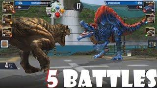 5 Dinosaur Battles in JURASSIC WORLD: THE GAME - No Talking, just Fighting Roaring Dinos!