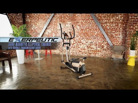 video Exerpeutic 1318 5000 Magnetic Elliptical Trainer with Double Transmission Drive