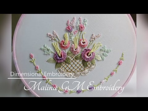 Dimensional Embroidery :  Flower Basket | design for embroidery tablecloth