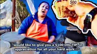 Giving $100 Dlls TIP From Subscriber - AMAZING Mexican Street Food Stand - Eating Gorditas/Migadas