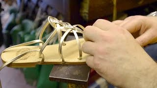 Making Custom Italian Sandals  Sorrento Italy