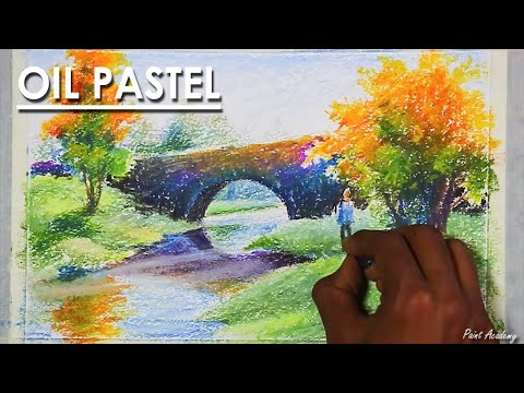 Oil Pastel Landscape Drawing : A River is Flowing beneath A Culvert