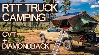 ULTIMATE Truck Roof Top Tent Camping - CVT on DiamondBack Cover Glory - Toyota Tacoma Overlanding