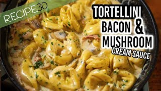 Tortellini Alla Panna with Bacon, Mushroom in a cream sauce