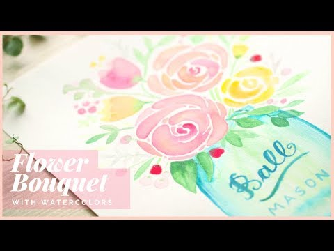 How to Paint  a Flower Bouquet in a Jar with Watercolors | Art Journal Thursday Ep. 35