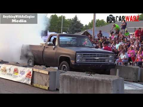 Black Chevy Pickup Burnout At Rod Benders Burnout Competition