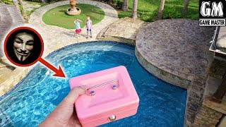 Opening Game Master's Little Pink Box! Top Secret Box Dropped Off Waterfall!