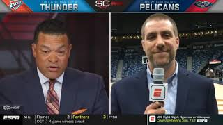 NBA Reporter Tim MacMahon on Anthony Davis left arena early to get MRI on left shoulder