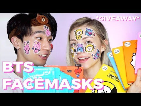Getting Skin Like BTS 💧 We tested BTS & BT21 Facecare *GIVEAWAY*