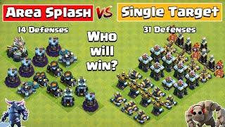 Area Splash Defense Vs Single Target Defense Formation | Clash of Clans