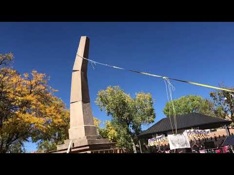 Protesters topple Santa Fe monument during Indigenous Peoples' Day rally