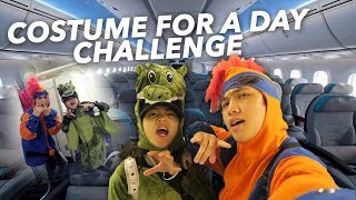 WEARING COSTUME EVERYWHERE FOR A DAY!! (ON THE PLANE) | Ranz and Niana