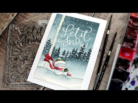 Holiday Card Series 2020 – Day 1 – Winter Scene with No-Line Watercoloring
