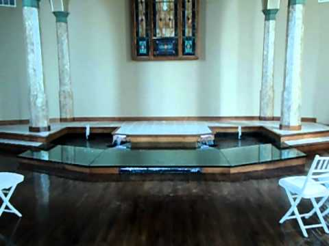 Indoor Water Feature - Glass Covered Altar at Wedding Chapel