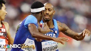 Bad handoff nearly derails Team USA in men's 4x400 heat | NBC Sports