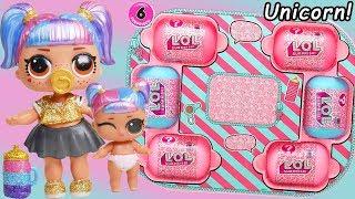 Unicorn Slime Custom LOL Surprise Dolls   #Hairgoals makeover Series 5 Lil Sister Family