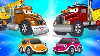 Crane Truck vs Super Dump Truck   Police Car Street Vehicles Kids Cartoon Songs