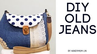 Diy old jeans into sling bag | Super lovely | easy sewing tutorial | 非常实用的手作包 | 共有8个口袋啊!!!#HandyMum❤