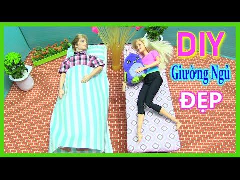 Hướng Dẫn Làm Giường Ngủ Cho Barbie Ken (chị bí đỏ) đồ chơi trẻ em -  Diy Barbie's Bed