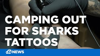 Sharks fans camp out overnight for team tattoos