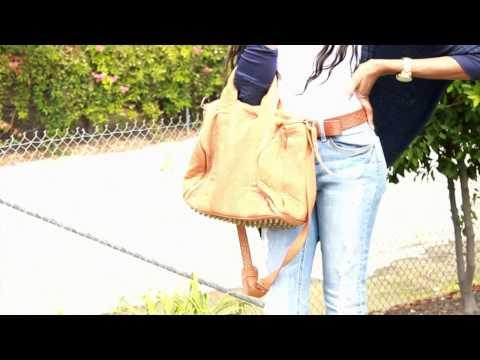 Alexa Studded Calfskin Leather Bag Camel