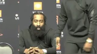 James Harden says HE WANTS OUT OF HOUSTON then LEAVES THE INTERVIEW after BLOWOUT LOSS to Lakers!