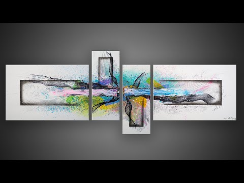 Abstract Painting demonstration in Acrylics with masking tape | Comptine