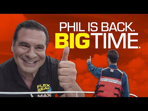 Larger-than-life Phil Swift repairs massive damage to demonstrate the maximum coverage and sealing power of our bigger Flex Max products.