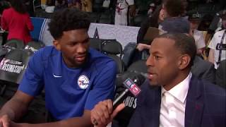 Andre Iguodala interviews Joel Embiid   NBA All-Star weekend   Feb 16, 2018