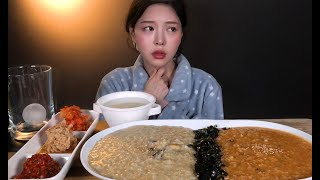 SUB)(목소리 주의) 아픈 날 전복죽 낙지김치죽 먹방🤧 다들 감기조심하쎄요 🙏🏻 Juk(Rice Porridge) Mukbang ASMR