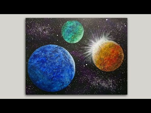 Colliding Planets Acrylic Painting Easy Galaxy Painting Tutorial for Beginners