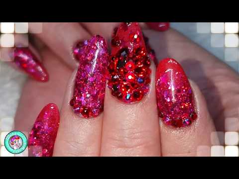 Dolly inspired Red Nails - Swarovski Crystals