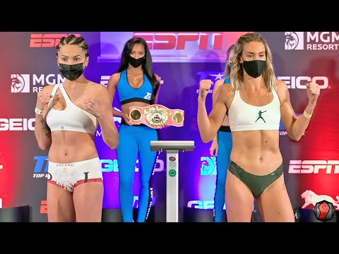 MIKAELA MAYER VS EWA BRODNICKA - FULL WEIGH IN & FACE OFF VIDEO