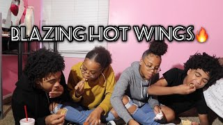 Blazing hot wings with Trvp twins 😂